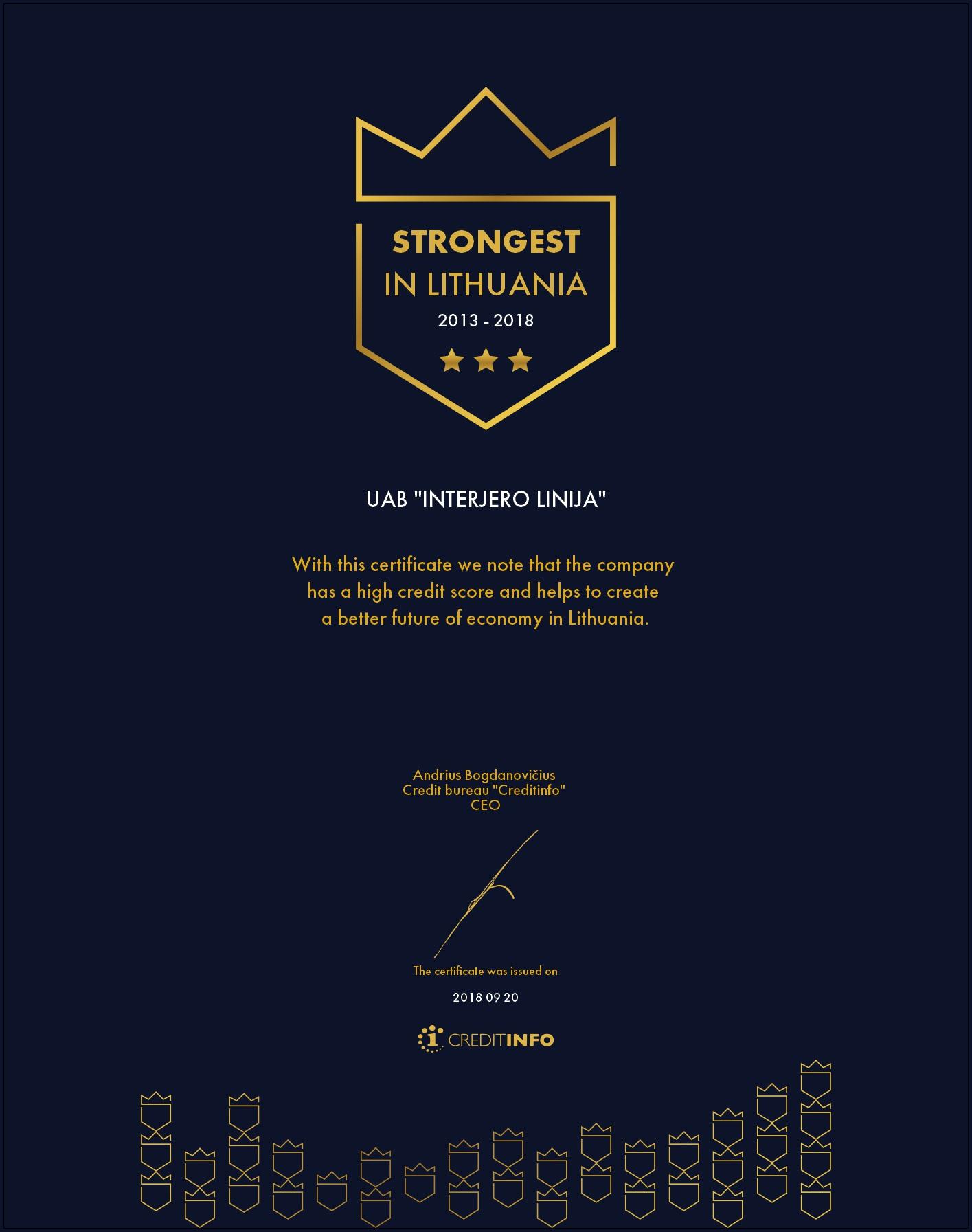 Certificate EN 2013-2018